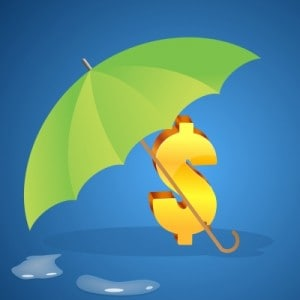 Dollar Sign Under Umbrella by digitalart