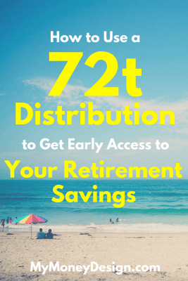 Want to retire early? Did you know that you can use a 72t distribution to get early access to your 401(k) or most any other retirement account before age 59-1/2 without penalty? Find out more at #MyMoneyDesign #RetireEarly #FinancialFreedom
